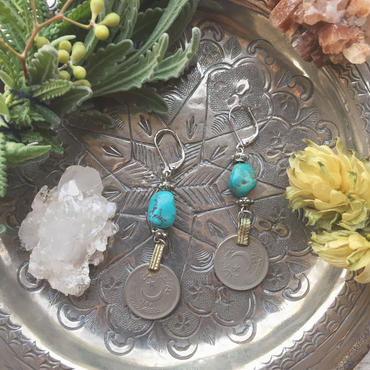 Vintage Coin /Turquoise Earrings