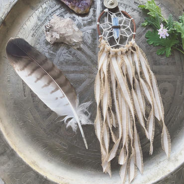 Kyanite/Cotton Fringe Dream Catcher