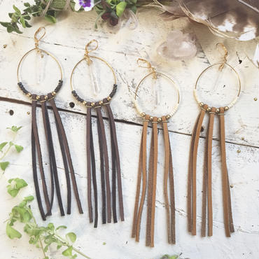 Crystal/Leather Fringe Hoop Earrings