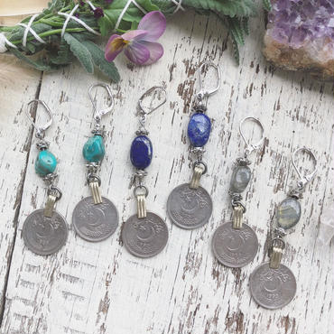 Vintage Coin /Gemstone Earrings
