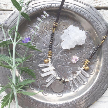 Crystal/Indian  Vintage Coin/Bell Necklace