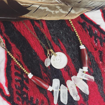 Crystal/Buffalo Bone Beads Necklace