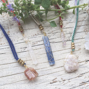Gemstone / Cotton Code Necklace Gold Color