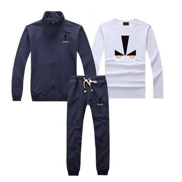早春新品   人気セット 3点セット(Tシャツ+ジャケット+ズボン) 大人気 上下セット 美品 セットアップ 男女兼用 FE カップル ネイビー