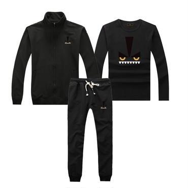 早春新品   人気セット 3点セット(Tシャツ+ジャケット+ズボン) 大人気 上下セット 美品 セットアップ 男女兼用 FE カップル ブラック