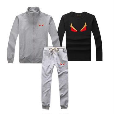 早春新品   人気セット 3点セット(Tシャツ+ジャケット+ズボン) 大人気 上下セット 美品 セットアップ 男女兼用 FEカップル グレー