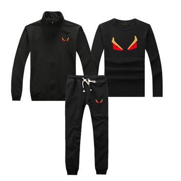 早春新品   人気セット 3点セット(Tシャツ+ジャケット+ズボン) 大人気 上下セット 美品 セットアップ 男女兼用 FEカップル ブラック