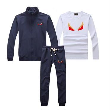 早春新品   人気セット 3点セット(Tシャツ+ジャケット+ズボン) 大人気 上下セット 美品 セットアップ 男女兼用 FEカップル ネイビー