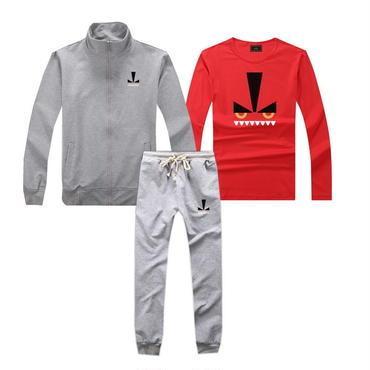 早春新品   人気セット 3点セット(Tシャツ+ジャケット+ズボン) 大人気 上下セット 美品 セットアップ 男女兼用 FE カップル グレー
