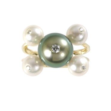 K18 黒蝶真珠 アコヤ真珠 ダイヤモンド リング