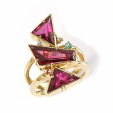 K18 ルべライト 半貴石 ダイヤモンド リング
