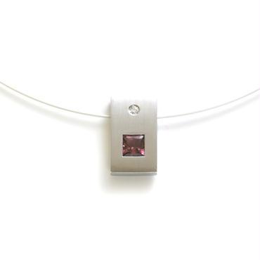 K18WG ピンクトルマリン ダイヤモンド ペンダント