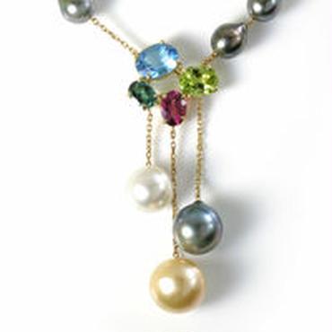 K18 南洋真珠 半貴石 ペンダント