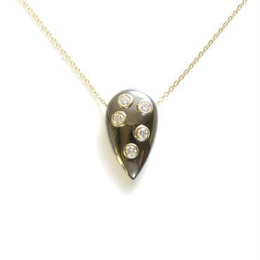 K18 ダイヤモンド ルテニウムメッキ ドロップ ペンダント