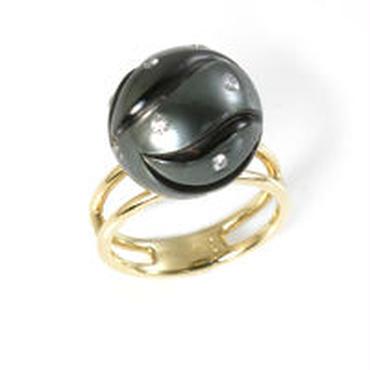 K18 黒蝶真珠 ダイヤモンド リング