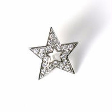 K18WG ダイヤモンド 星型 スタッズブローチ