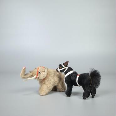 30s40s german stuffed leather animals pair
