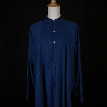 1900s french antique linen shirt ceramic buttons hand dyed indigo