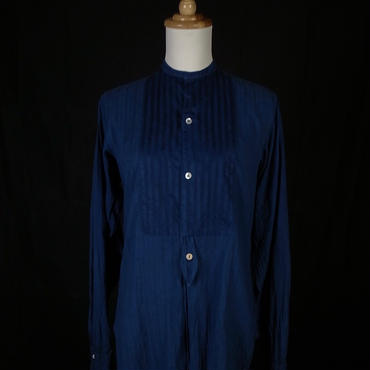 1900s french antique linen shirt shell buttons hand dyed indigo