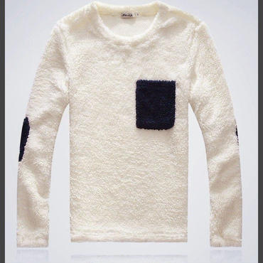 ボアニットセーター★ポケット&肘当て切り替え加工★【送料無料】