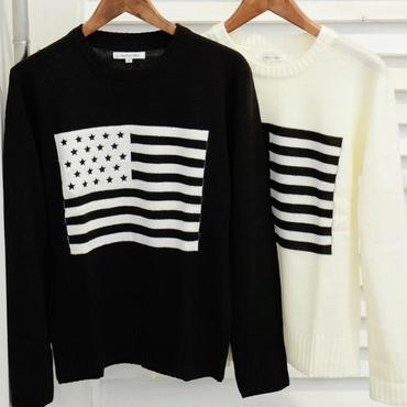 米国旗★クルーネックニットセーター★2色★【送料無料】