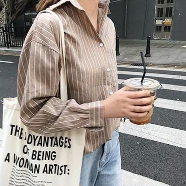 ルーズ ストライプシャツ