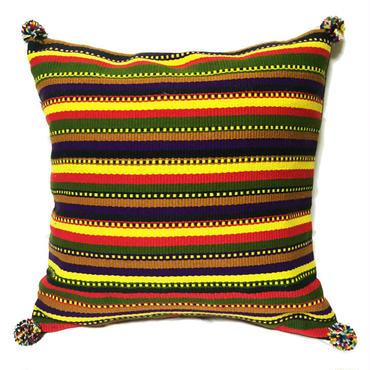 アフガニスタンの手織り布 マルチボーダークッションカバー  PR