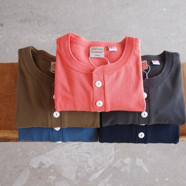 Goodwear〈グッドウェア〉 U.S.A. COTTON Henry Neck Tee ORANGE/BLUE/KHAKI/CHARCOAL/NAVY/WHITE/BLACK
