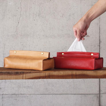 Esperanto〈エスペラント〉 BAKETTA LEATHER TISSUE BOX CASE TAN/RED