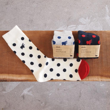 s&nd〈セカンド〉 DOT SOX IVORY/GREY/NAVY