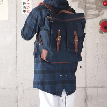 Butler Verner Sails〈バトラーバーナーセイルズ〉  OPEN ZIP RUCKSACK (JA-1611) NATURAL/NAVY