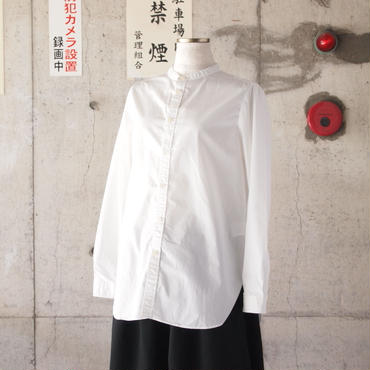 【women】Manual Alphabet〈マニュアルアルファベット〉 OVERDYE BAND COLLAR SHIRT WHITE