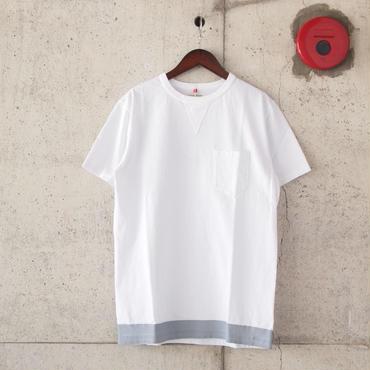 FOB FACTORY〈エフオービーファクトリー〉 US COTTON TUBE POCKET T-shirt/print (F7096) WHITE grey print