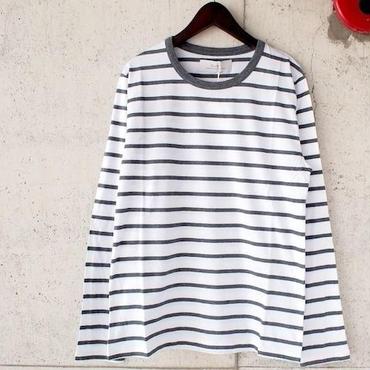 【SALE】NaRy〈ナリー〉 Supima Cotton Crew neck Border Tシャツ GRAY