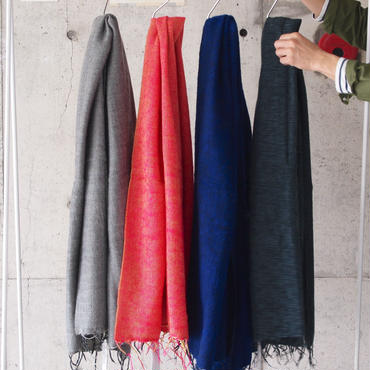 hint hint〈ヒントヒント〉  STOLE (02)(04) KHAKIGREY/RED-PINK/NAVY-ROYAL/BLACK-GREY