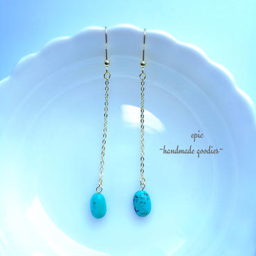 turquoise long chain earrings