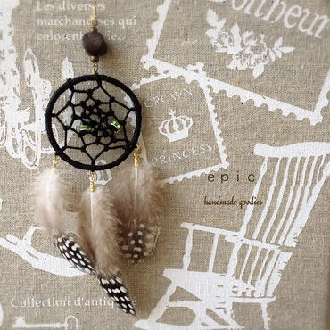 dreamcatcher and feather earrings(ブラック)