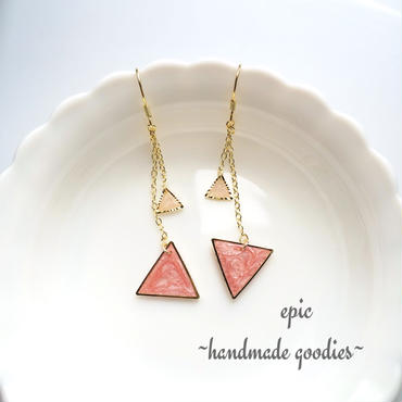 triangle chain earrings(pink)