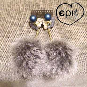 swinging fur bijoux studs earrings