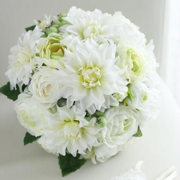 ラウンドブーケ(アーティフィシャル)ホワイト×グリーン