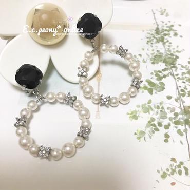 ~monotone flower&pearl~イヤリング&ピアス