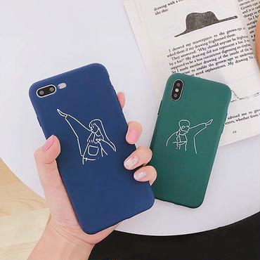 Green blue couple iphone case
