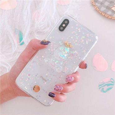 Bear glitter clear iphone case