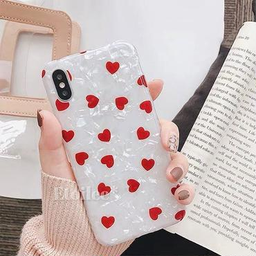 Red heart shell iphone case