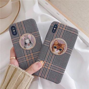 Cat rabbit check iphone case