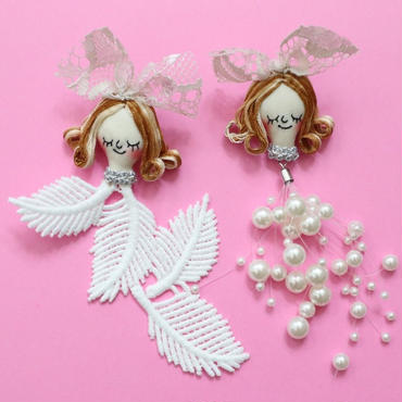 Face earring/ Pearl & Lace Beige(pin type)