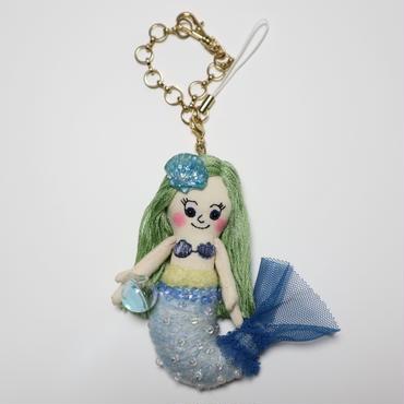 人魚姫ブルー ドールチャーム( Little Mermaid doll charm)