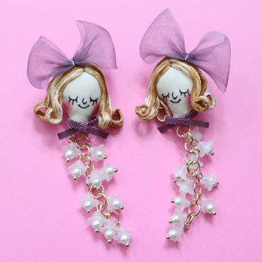 Face earring/Lily of the valley Purple(pin type)