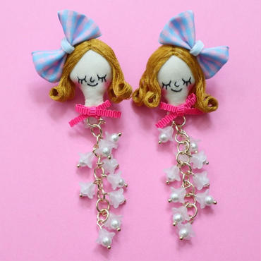 Face earring/Lily of the valley Pink(clip type)