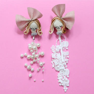 Face earring/ Pearl & Lace Gold(clip type)